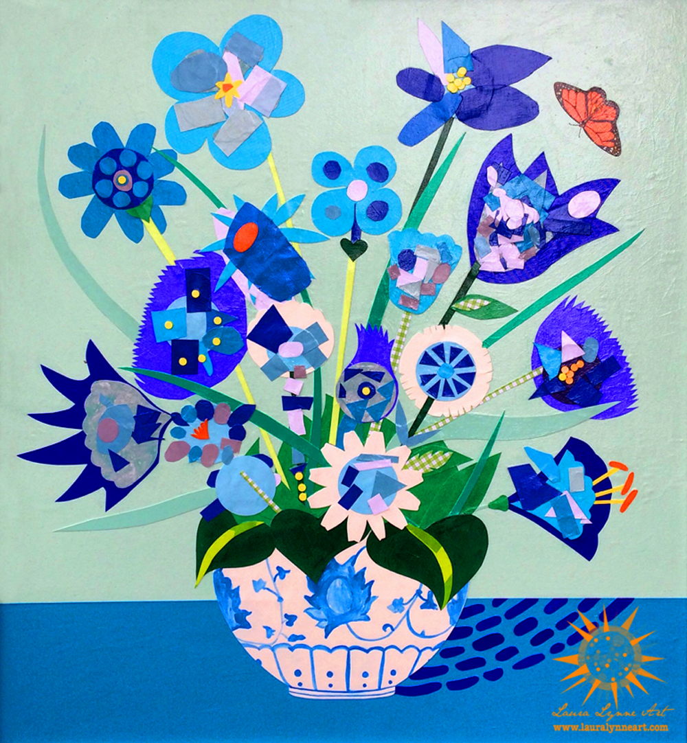 Blue flower collage collaboration with preschoolers with monarch butterfly
