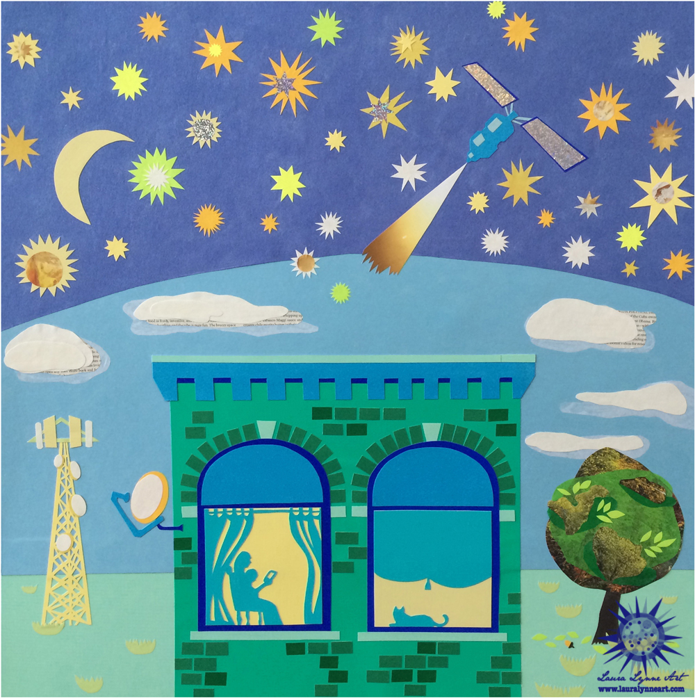 Mother reading kindle to child with satellite, 4G tower, stars and cat in the window illustration