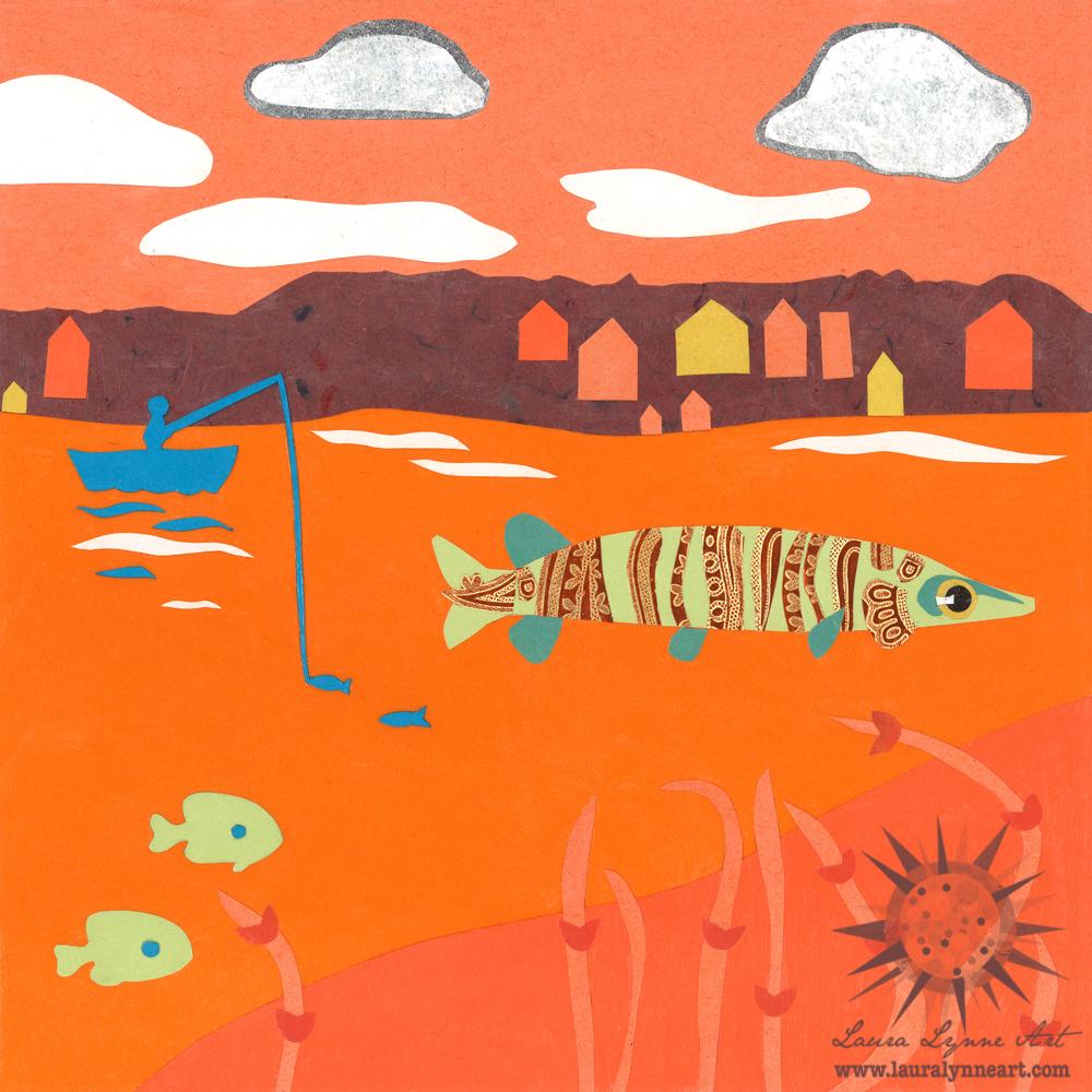 hunter orange musky fishing nursery art illustration