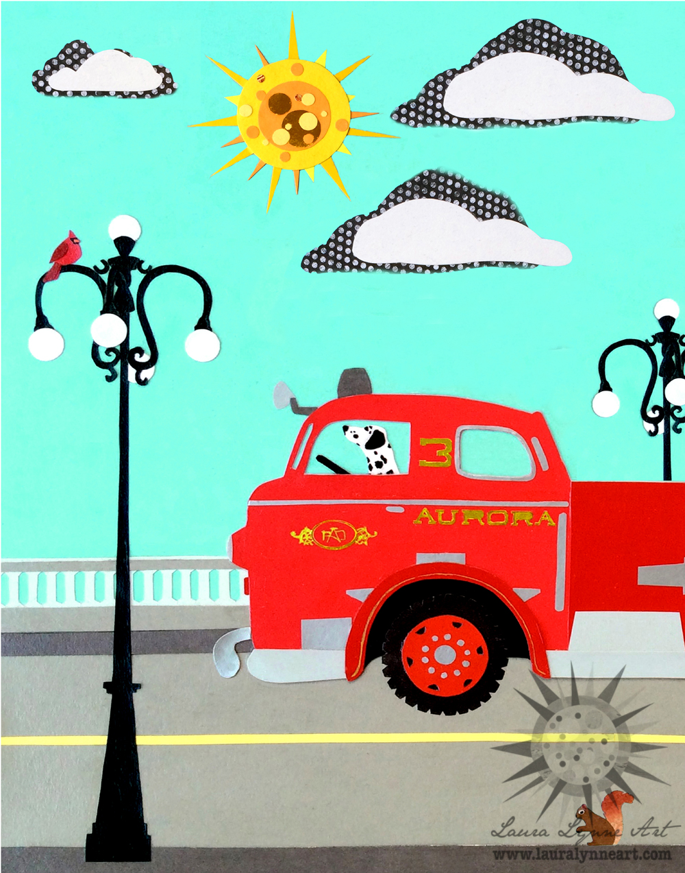 Vintage firetruck with dalmation squirrel cardinal and sun