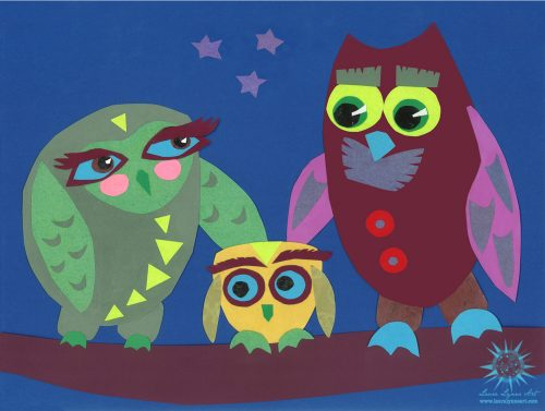 Cute and colorful owl family nursery wall art illustration print by Laura Lynne Art