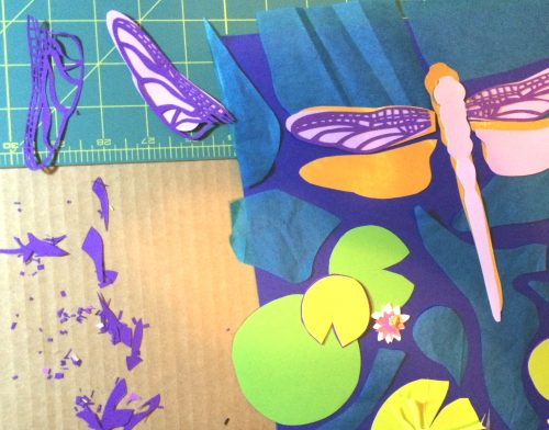 dragonfly mixed media paper cut collage art process by Laura Lynne Art