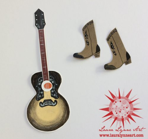acoustic guitar and cowboy boots mixed media collage by Laura Lynne Art