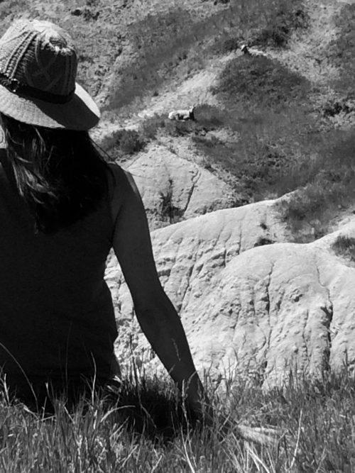 Artist Laura Lynne on a trip to South Dakota looking for Bighorn Sheep