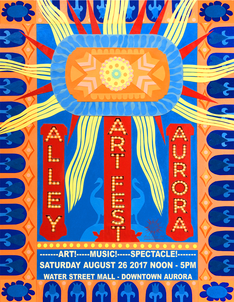 Alley Art Festival Poster Design by Laura Lynne Art based on Paramount Theater's Art Deco Building in Aurora Illinois