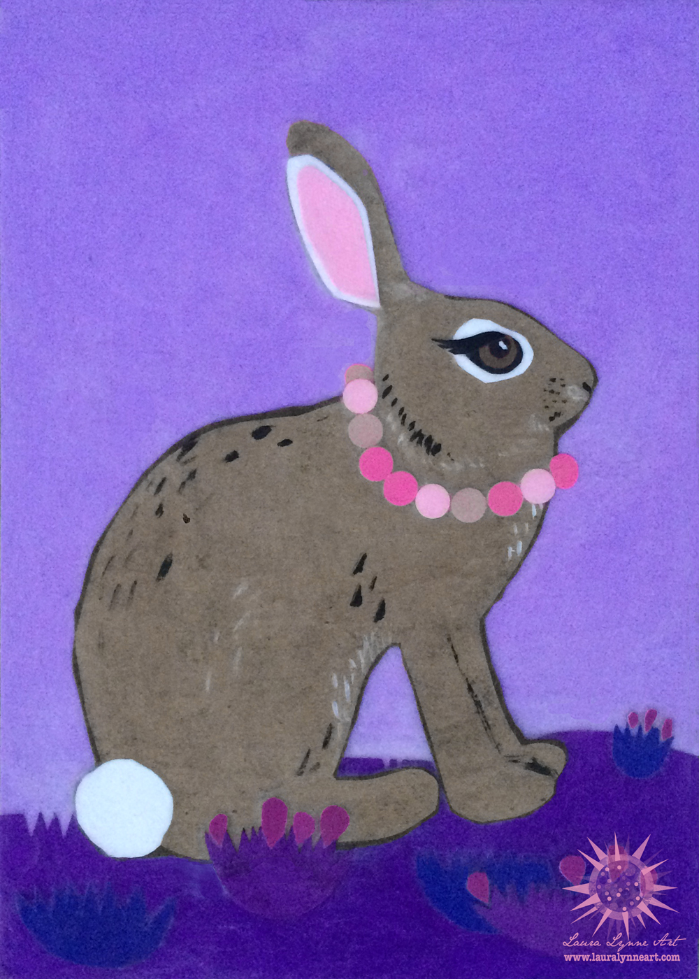 Purple whimsical bunny nursery wall art print for sale