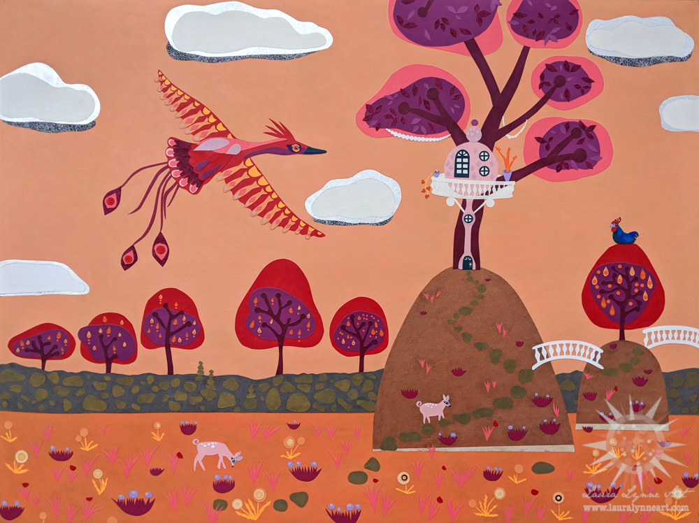 Red phoenix on orange sky with whimsical animals and treehouse original mixed media collage