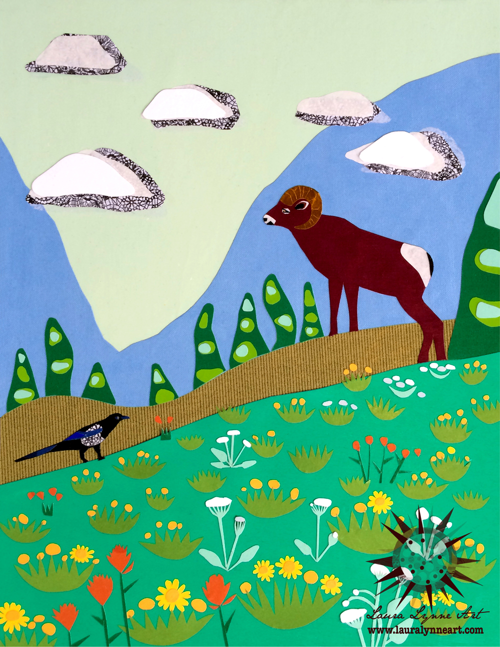 Colorful woodland ram with magpie wall art print by Laura Lynne