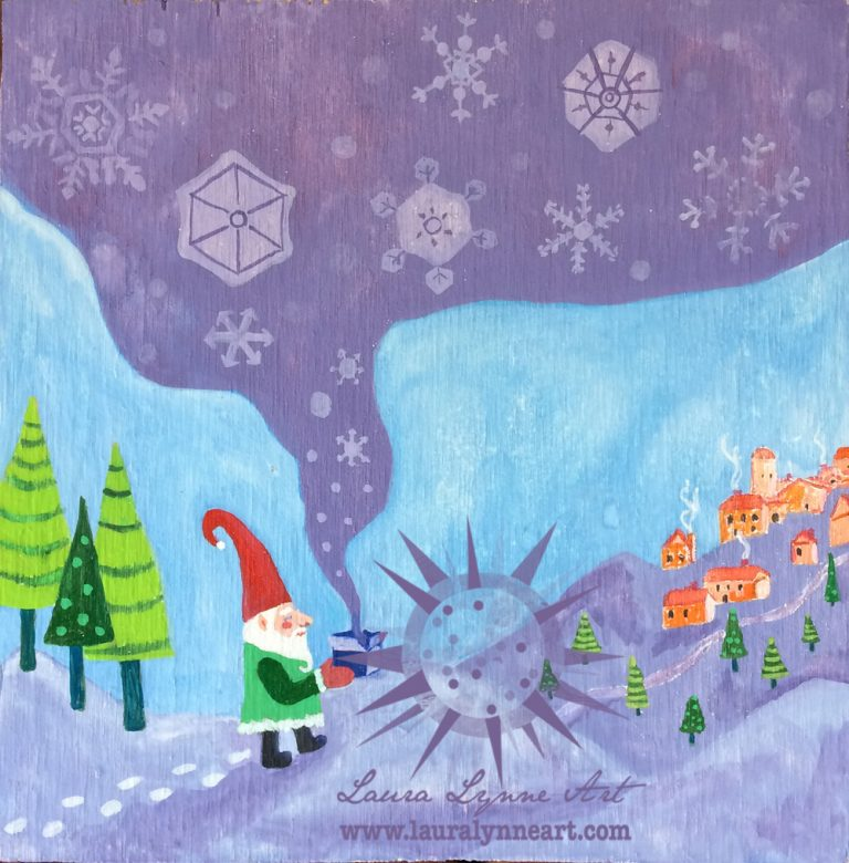 Whimsical Winter Gnome Illustration Wall Art Print For Sale