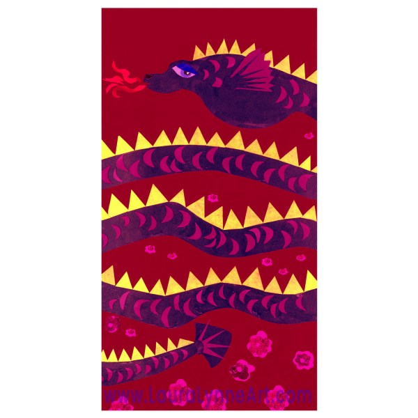 Purple yellow and red water dragon nursery wall art print for sale by Laura Lynne Art