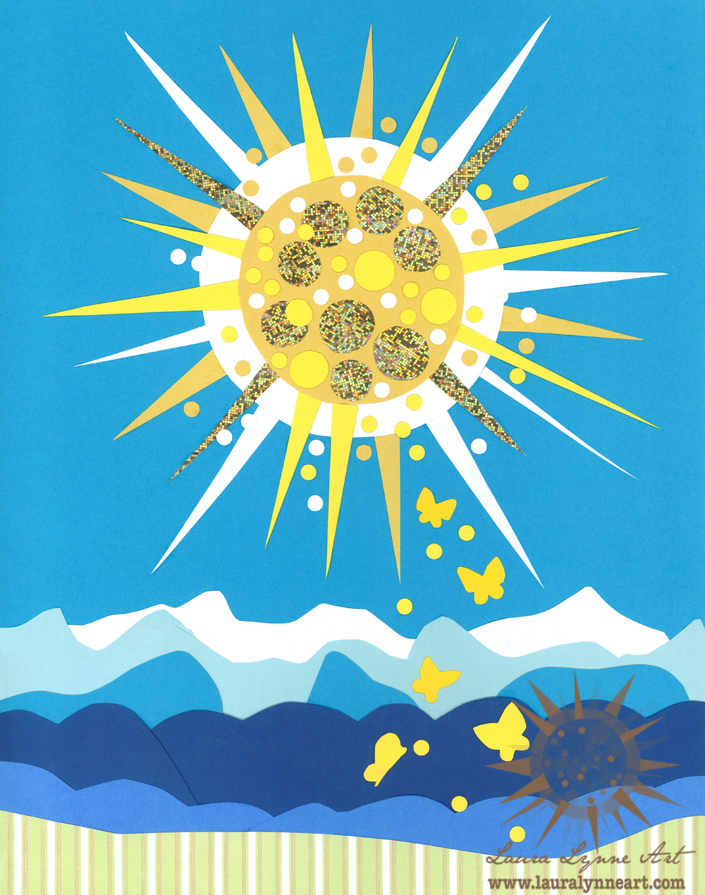 Sun with butterflies and mountains whimsical wall art print for sale