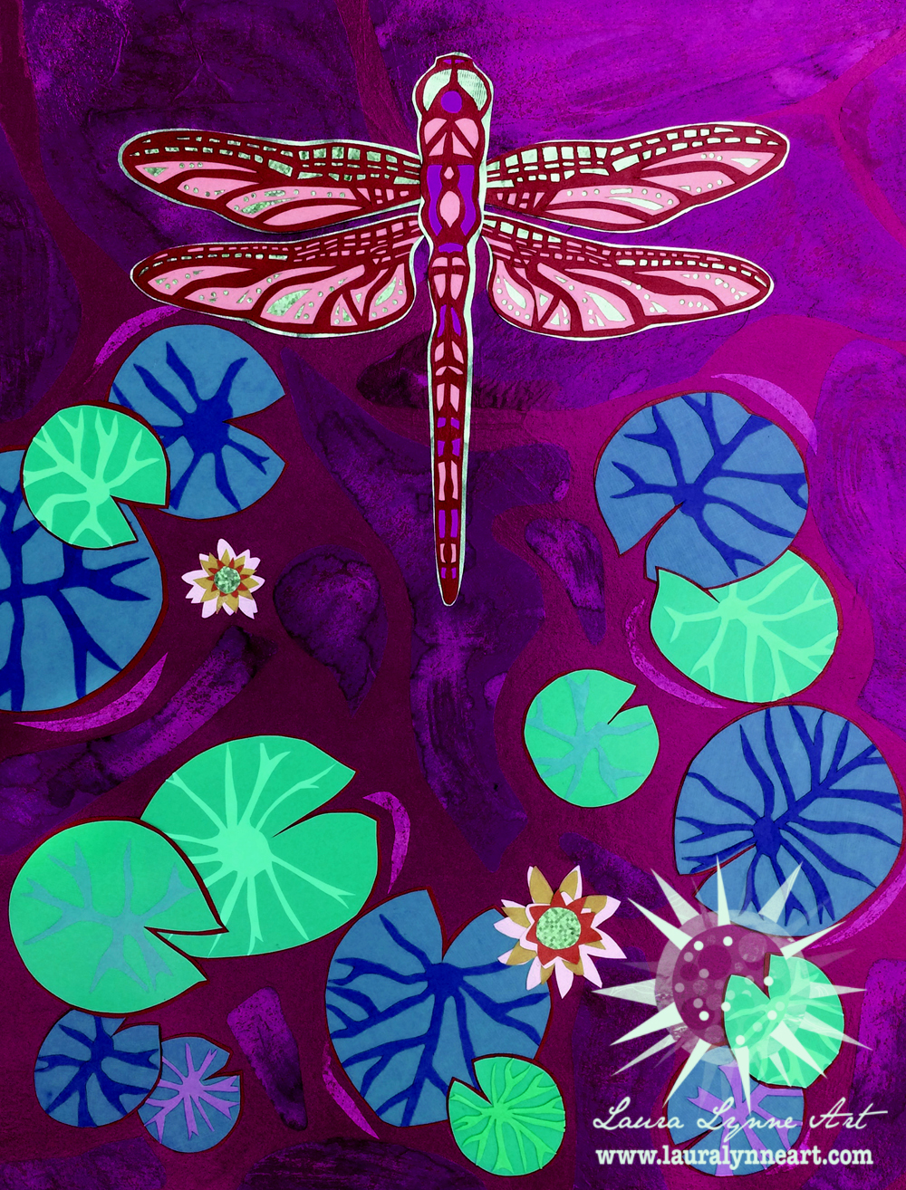 Beautiful purple and pink contemporary dragonfly wall art print by Laura Lynne