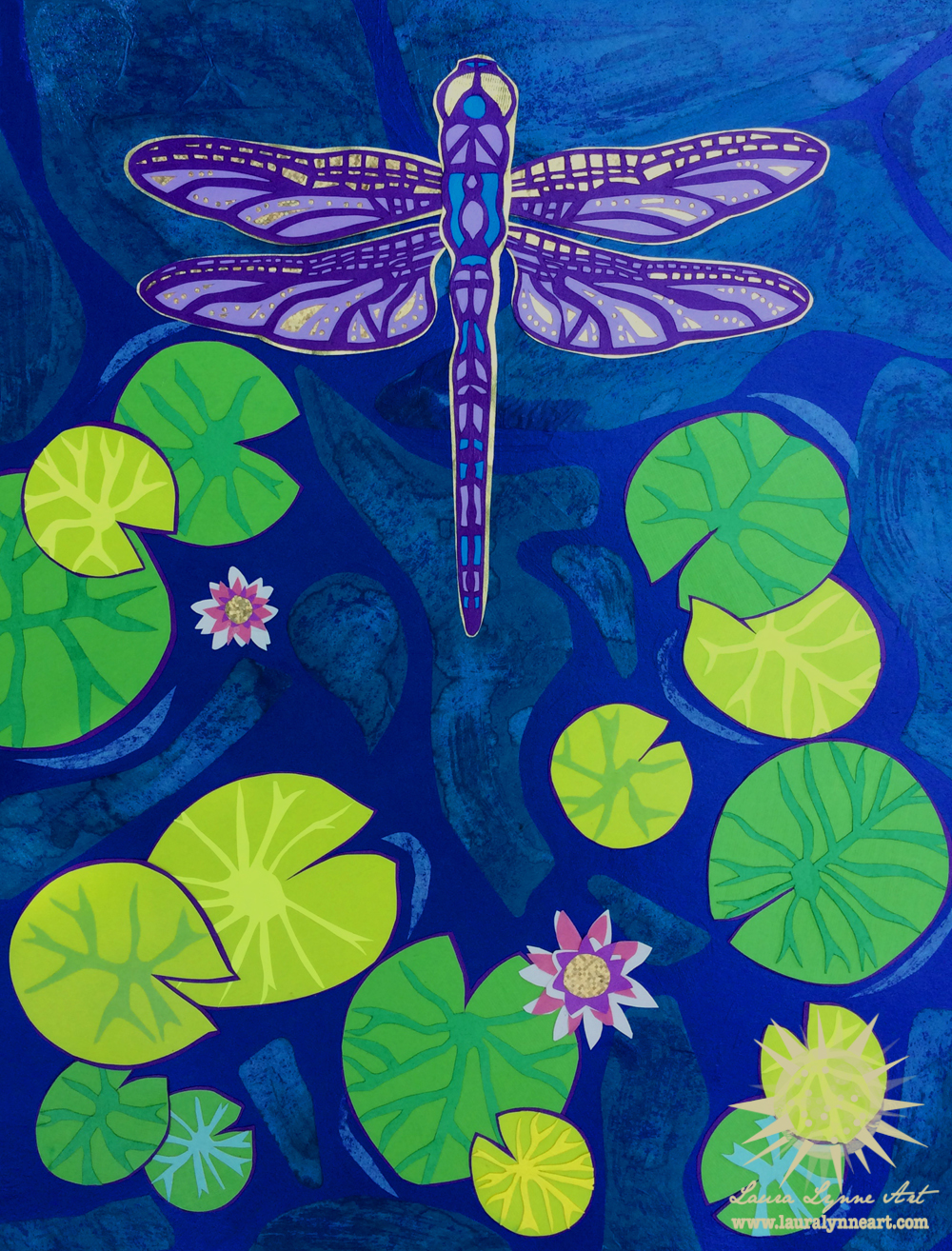 Colorful blue modern dragonfly wall art print for sale by Laura Lynne Art