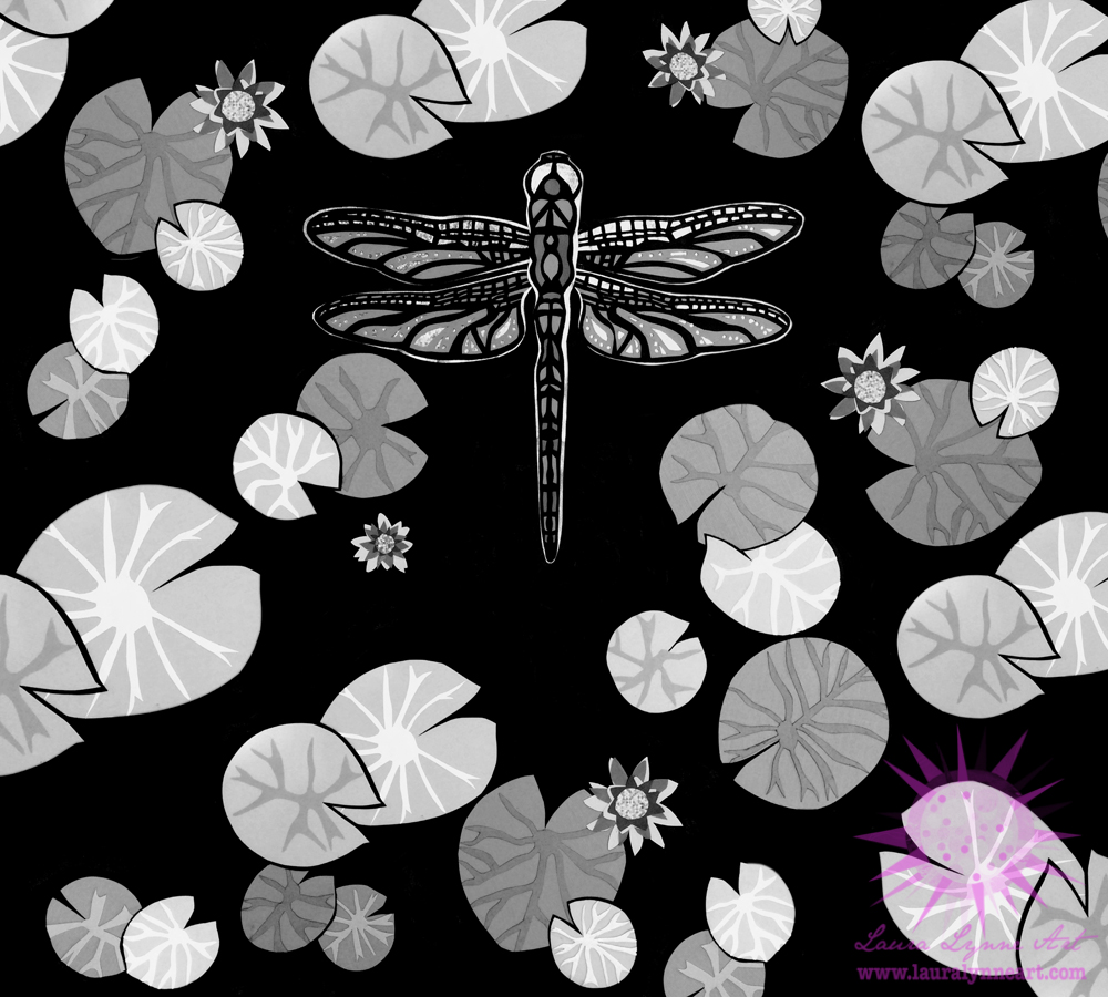 Modern black and white dragonfly wall art print for sale by Laura Lynne Art
