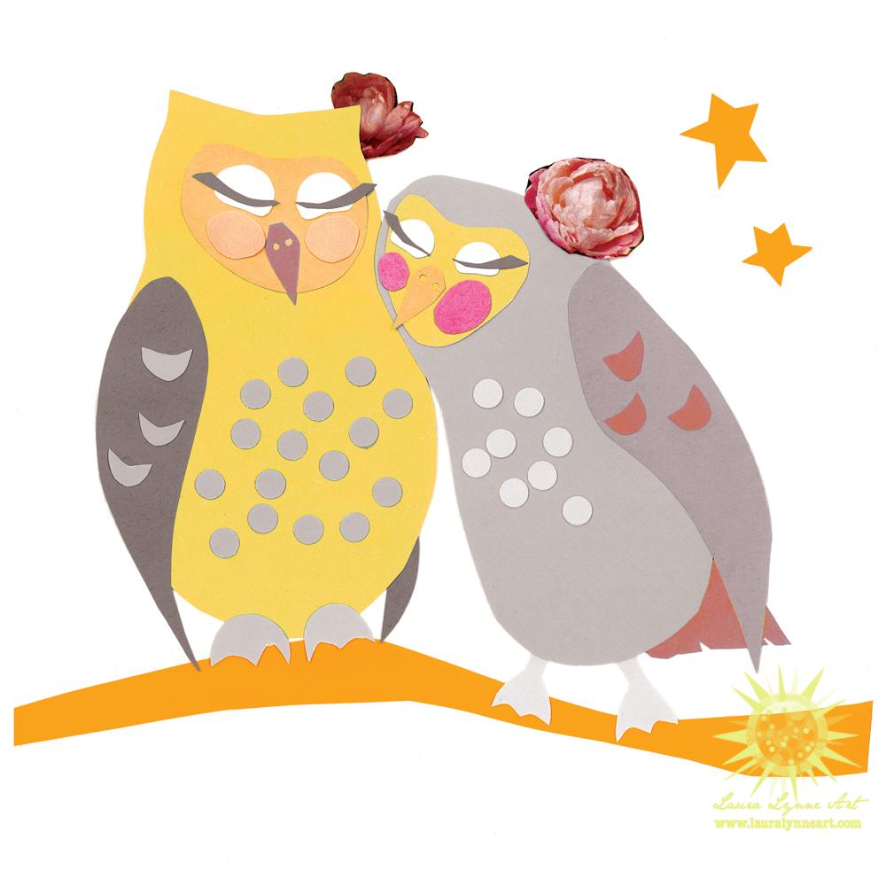 Cute Owl Couple cuddling artwork original mixed media papercut collage art