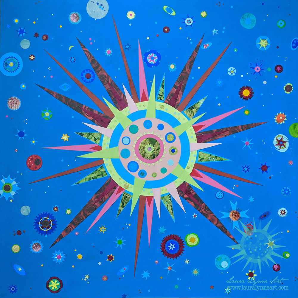 Large Scale Original Sun and Star Celestial Mixed Media Art in Blue by Laura Lynne