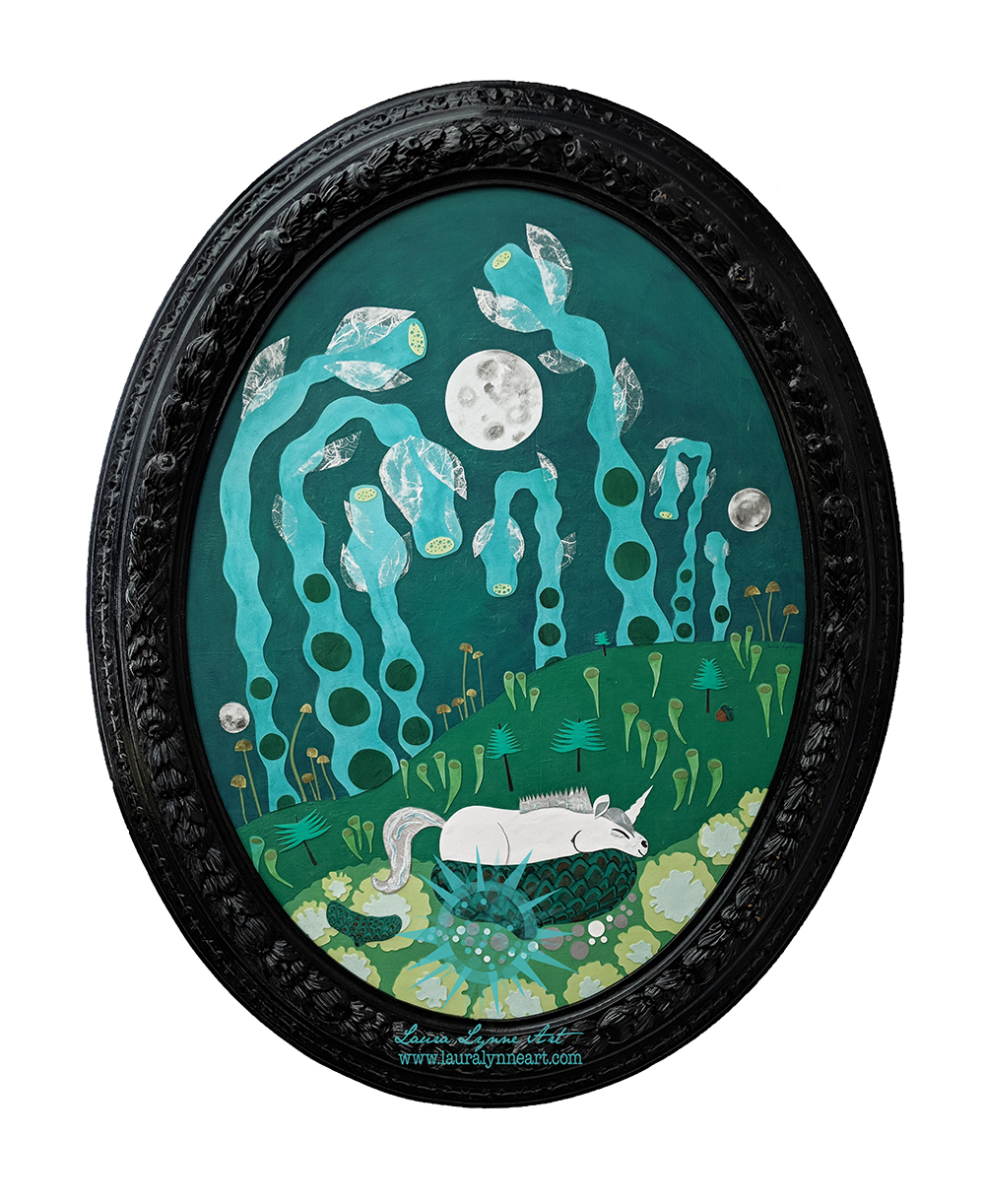 Oval Green Unicorn Mixed Media Art with Vintage Oval Frame