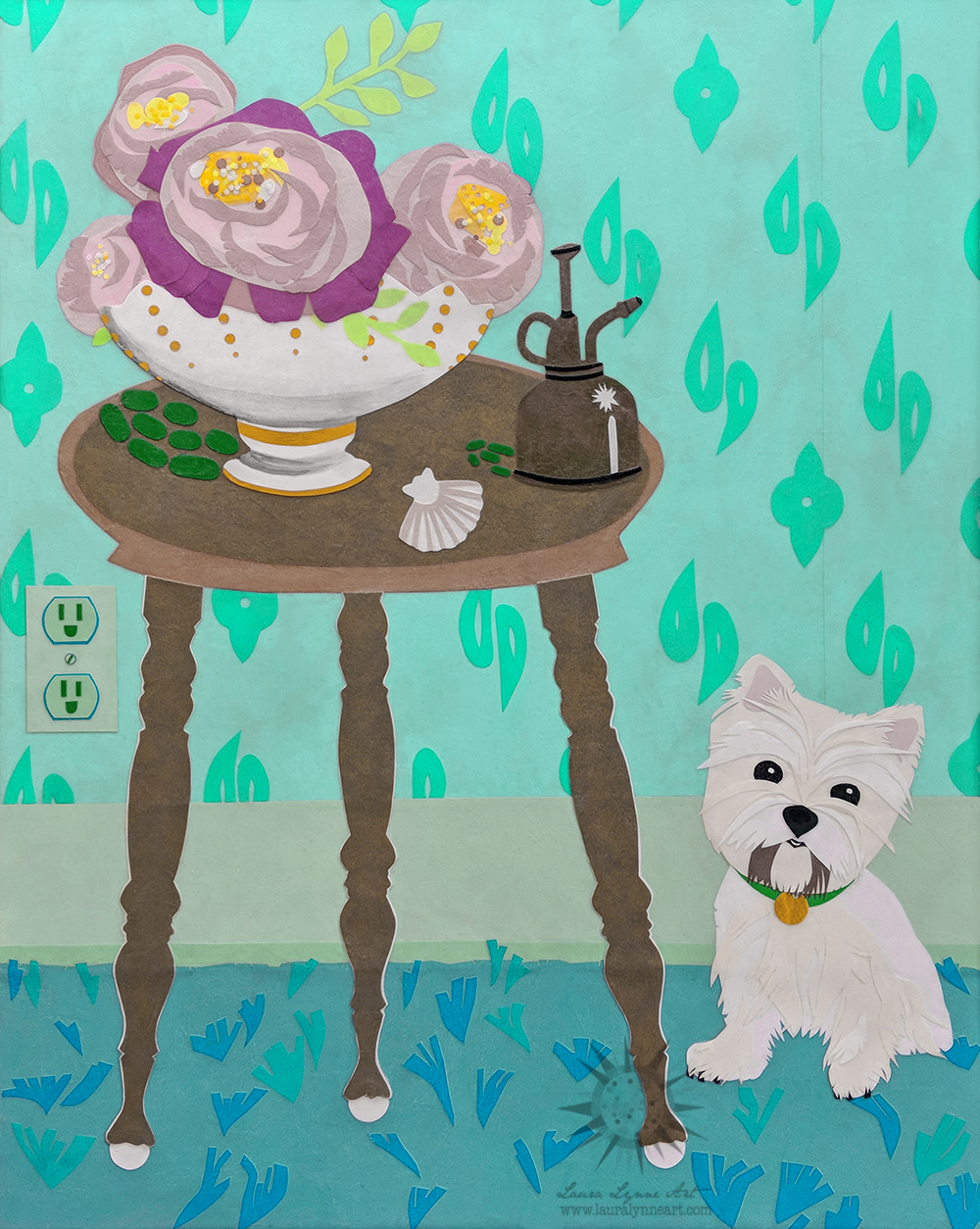 Room Portrait illustration of a table with a vase of peonies, a shell, and a West Highland Terrior Mixed Media Art