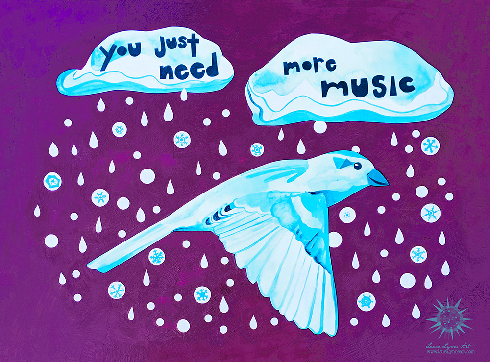 Grateful Dead Bird Song Lyrics Inspired Art with Bird, rain and snow