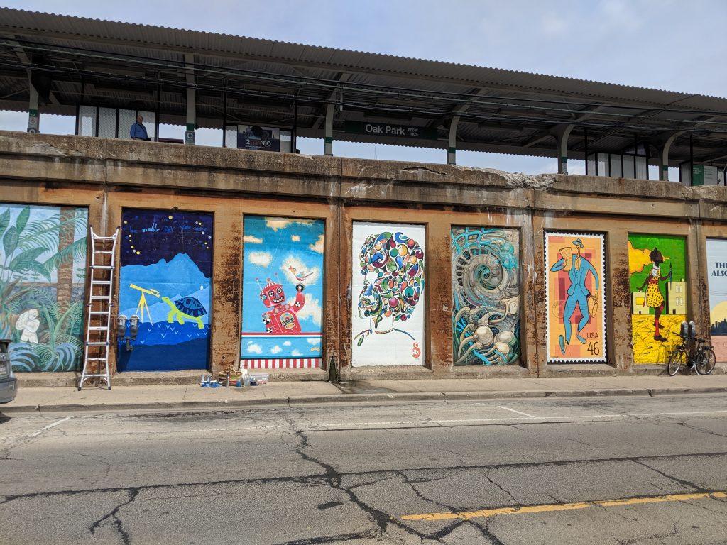 Oak Park Illinois Murals by CTA Green LIne Stop
