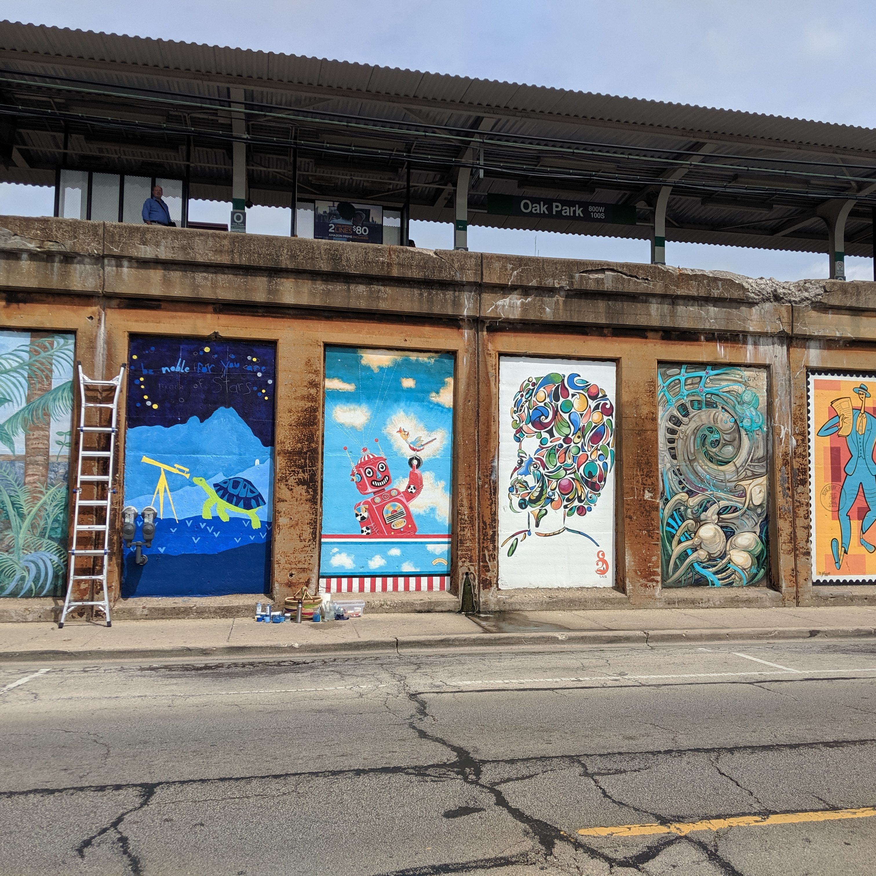 Oak Park Illinois Murals by Chicago Green Line Stop - Turtle and Inspirational quote mural by Laura Lynne Art