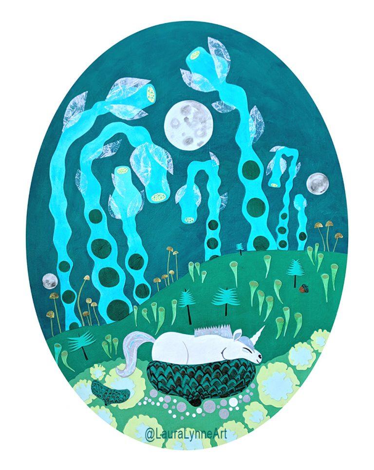 Green oval magical unicorn nursery wall art print