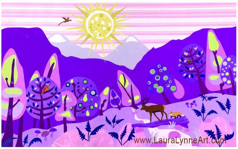 Whimsical colorful purple woodland animal nursery art print for sale