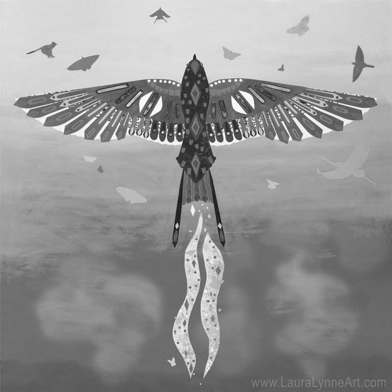 black and white bird illustration wall art print, Laura Lynne