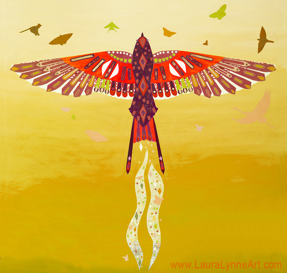 Red and yellow phoenix wall art print