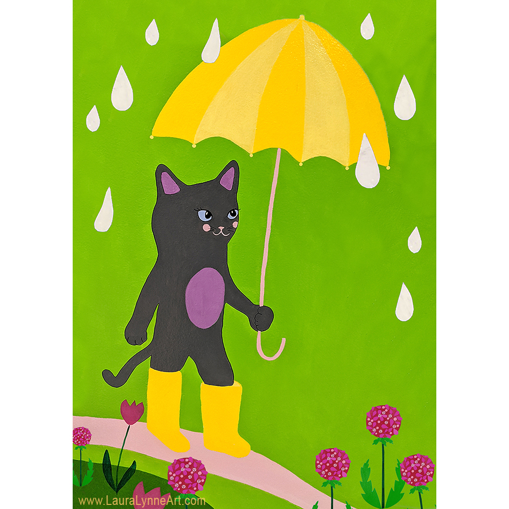 Colorful and cute cat with yellow umbrella nursery wall illustration art for sale by Laura Lynne