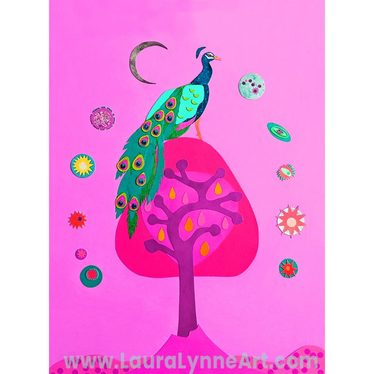 Pink peacock on tree celestial wall art print by Laura Lynne Art