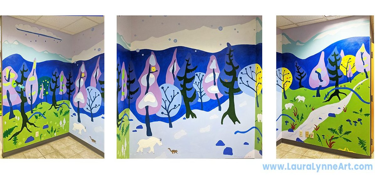 three seasons magical nature mural by Laura Lynne Art in Chicago