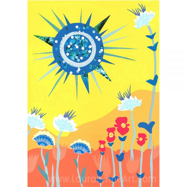 grateful dead poster art print of blue sun and scarlet begonias by Laura Lynne
