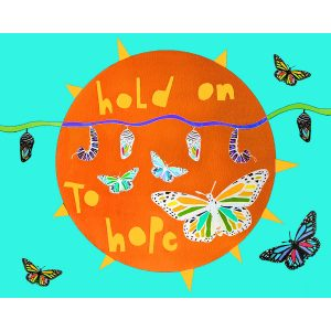 hold on to hope quote colorful and whimsical wall art print with butterflies
