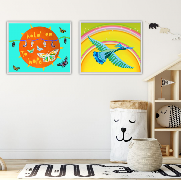 Whimsical and colorful nursery room art by Laura Lynne