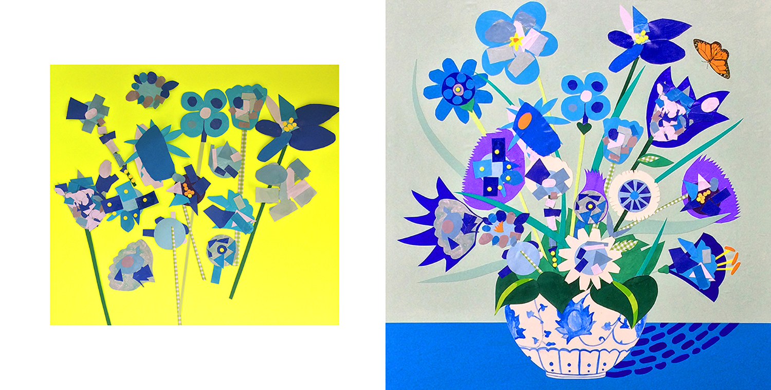 Floral Art collaboration with preschool classroom and artist Laura Lynne