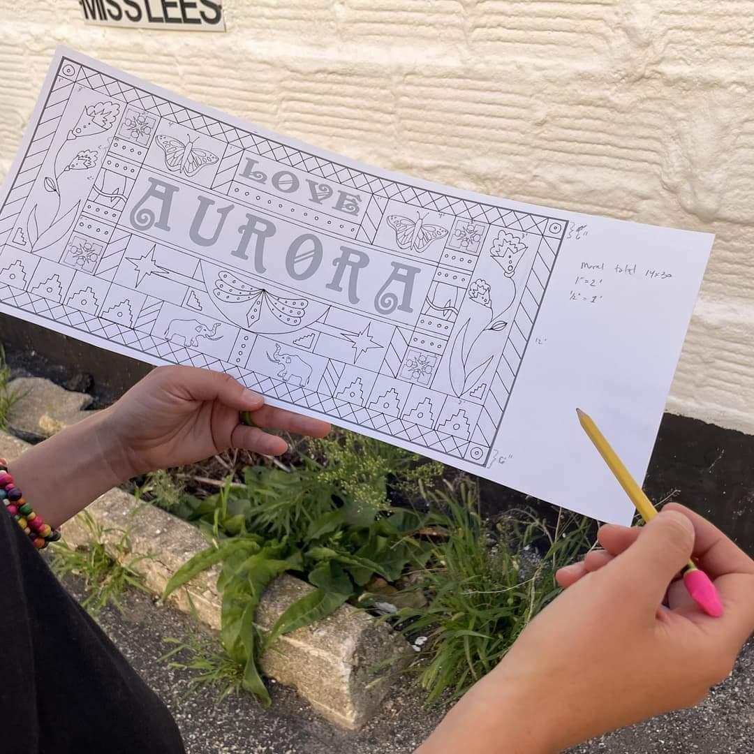 Aurora Unity Mural Line Drawing Design Plan by Laura Lynne Art