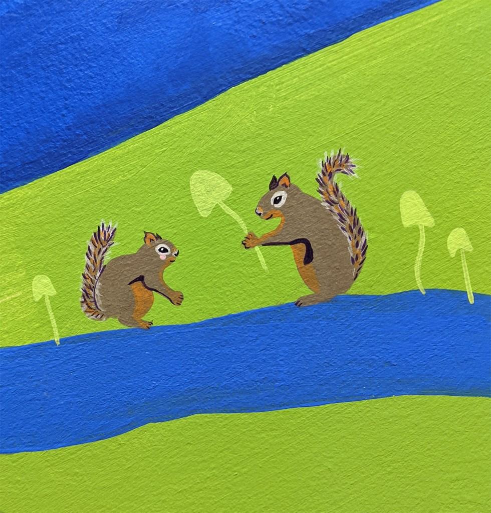 painted mural detail of Douglas squirrel giving mushroom